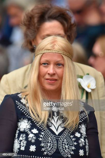 Patricia Ostfeldt wife of former Swedish professional tennis player Bjorn Borg arrives on Centre Court to watch the men's singles final match between...