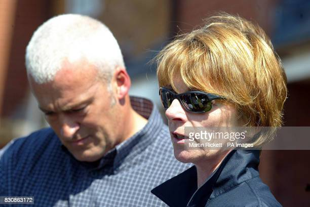 Patricia Palmer's sister Elaine Blair and her brother Kevin Wright reading a statement outside the family home in Fleetwood Lancashire * Patricia's...