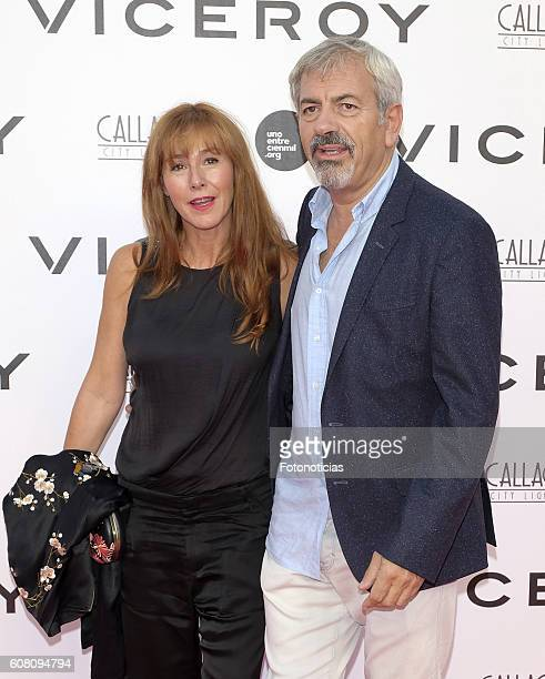 Patricia Santamaria and Carlos Sobera attend the 'Soy Uno Entre Cien Mil' premiere at Callao cinema on September 19 2016 in Madrid Spain