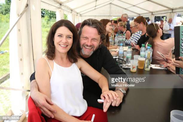 Patricia Schaefer and Christian Rudolf pose during the celebration of 2500 episodes of 'Rote Rosen' on June 18 2017 in Lueneburg Germany
