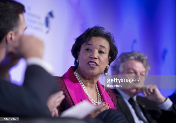 Patricia Scotland secretary general of the Commonwealth of Nations speaks during a panel discussion at the International Economic Forum Of The...