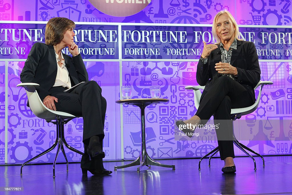 Patricia Sellers and tennis player Martina Navratilova speak onstage at the FORTUNE Most Powerful Women Summit on October 16, 2013 in Washington, DC.