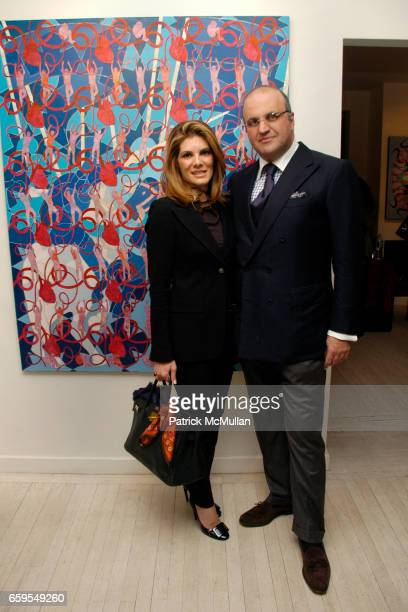 Patricia Suarez and Reza Raein attend ROYA AKHAVAN NEXUS OPENING EXHIBITION at LTMH Gallery on October 14 2009 in New York City