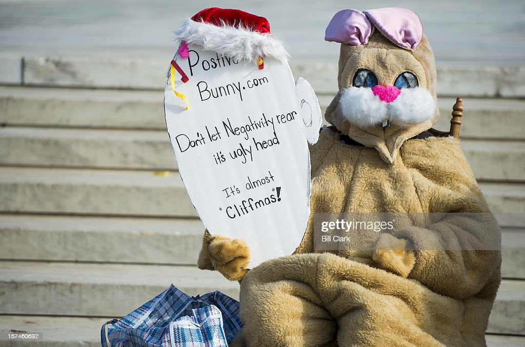 Patricia Taylor, of Los Angeles, sits dressed in a bunny costume in front of the Supreme Court facing the the Capitol on Monday, Dec. 1, 2012, to prod Congress to act on the fiscal cliff. Taylor says she gives proceeds from web site, positivebunny.com, to help homeless teens in California.