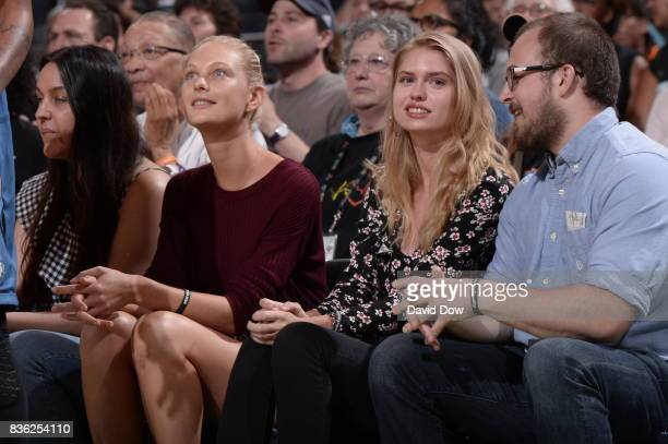 Patricia Van Der Vliet and Chelsey Weimar attend the game between the New York Liberty and the Minnesota Lynx on August 20 2017 at the Madison Square...
