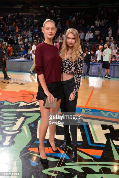 Patricia Van Der Vliet and Chelsey Weimar pose or a photo after the game between the New York Liberty and the Minnesota Lynx on August 20 2017 at the...