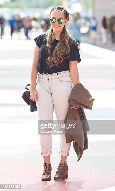 Patricia wears Parfois shoes Tierra headband Misako bag Zara blouse and Berska pants during the Merccedes Fashion Week at Ifema on September 19 2015...