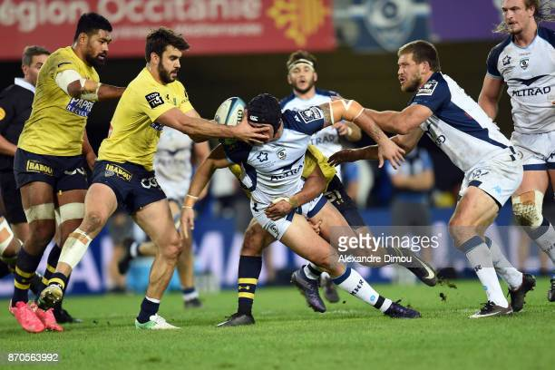 Patricio Fernandez of Clermont and Alexandre Dumoulin of Montpellier during the French Top 14 match between Montpellier and Clermont at Altrad...