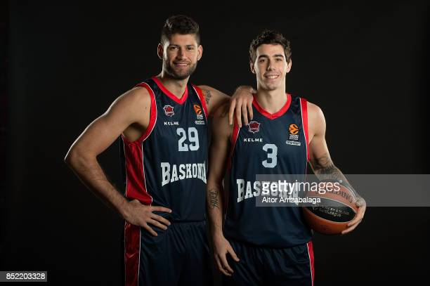 Patricio Garino #29 and Luca Vildoza #3 poses during Baskonia Vitoria Gasteiz 2017/2018 Turkish Airlines EuroLeague Media Day at Fernando Buesa Arena...