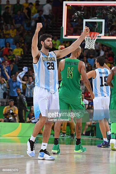 Patricio Garino of Argentina celebrates after the game against Brazil on Day 8 of the Rio 2016 Olympic Games on August 13 2016 at Barra Carioca Arena...