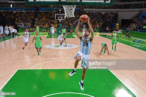 Patricio Garino of Argentina goes up for a dunk against Brazil on Day 8 of the Rio 2016 Olympic Games on August 13 2016 at Barra Carioca Arena 1 in...