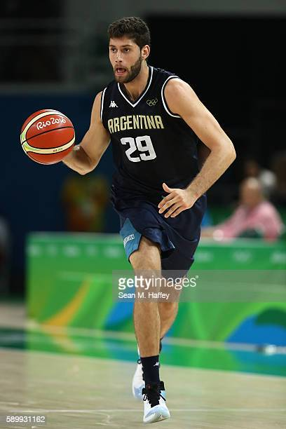 Patricio Garino of Argentina moves the ball during a Men's Basketball Preliminary Round Group B game between Spain and Argentina on Day 10 of the Rio...