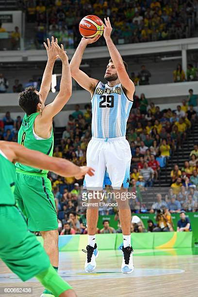 Patricio Garino of Argentina shoots the ball against Brazil on Day 8 of the Rio 2016 Olympic Games on August 13 2016 at Barra Carioca Arena 1 in Rio...