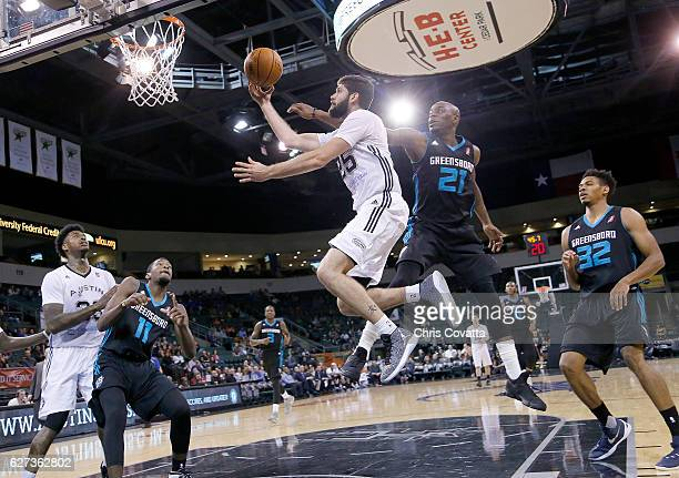 Patricio Garino of the Austin Spurs drives to the basket against the Greensboro Swarm at the HEB Center At Cedar Park on December 2 2016 in Cedar...