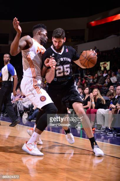Patricio Garino of the Austin Spurs drives to the basket against the Northern Arizona Suns on March 29 2017 at Prescott Valley Event Center in...