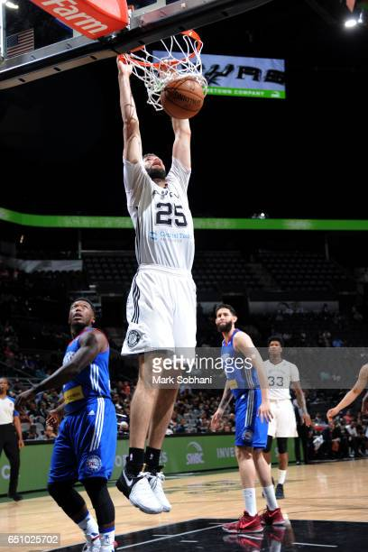 Patricio Garino of the Austin Spurs dunks the ball during the game against the Delaware 87ers on March 9 2017 at the ATT Center in San Antonio Texas...