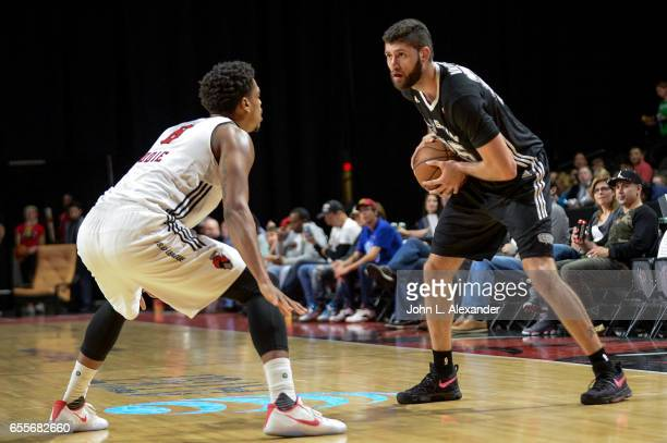 Patricio Garino of the Austin Spurs looks to pass the ball against the Windy City Bulls during a NBA DLeague game on March 17 2017 at the Sears...
