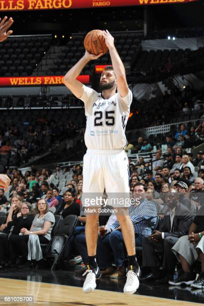 Patricio Garino of the Austin Spurs shoots the ball during the game against the Delaware 87ers on March 9 2017 at the ATT Center in San Antonio Texas...