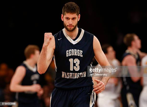Patricio Garino of the George Washington Colonials reacts against the Valparaiso Crusaders during their NIT Championship game at Madison Square...