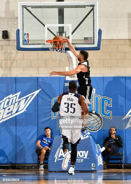 Patricio Garino of the Orlando Magic dunks against the Dallas Mavericks on July 3 2017 during the 2017 Summer League at Amway Center in Orlando...