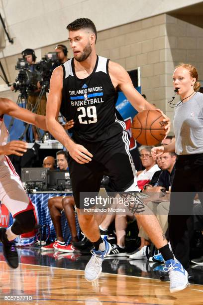 Patricio Garino of the Orlando Magic handles the ball against the Miami Heat during the 2017 Summer League on July 2 2017 at Amway Center in Orlando...