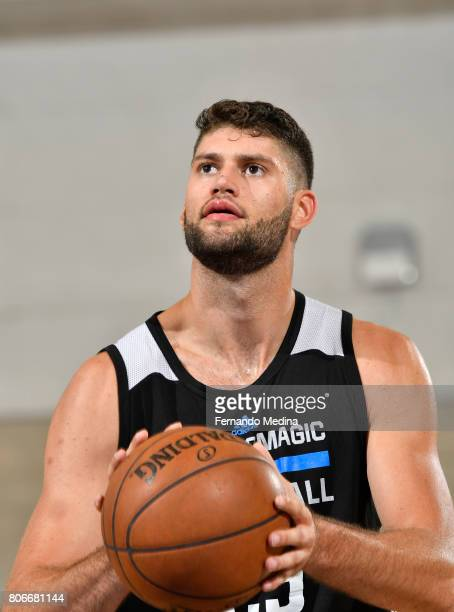 Patricio Garino of the Orlando Magic shoots a free throw against the Dallas Mavericks on July 3 2017 during the 2017 Summer League at Amway Center in...