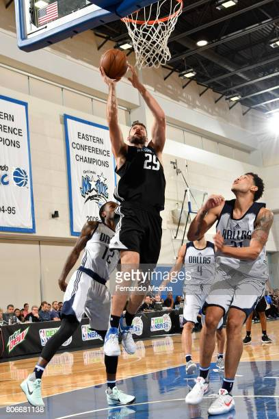 Patricio Garino of the Orlando Magic shoots the ball against the Dallas Mavericks on July 3 2017 during the 2017 Summer League at Amway Center in...