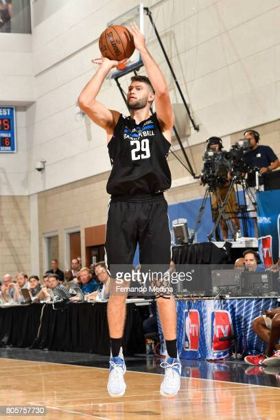 Patricio Garino of the Orlando Magic shoots the ball against the Miami Heat during the 2017 Summer League on July 2 2017 at Amway Center in Orlando...