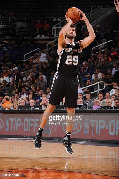 Patricio Garino of the San Antonio Spurs shoots the ball against the Phoenix Suns during a preseason game on October 3 2016 at Talking Stick Resort...