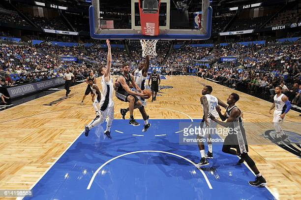Patricio Garino of the San Antonio Spurs shoots the ball against the Orlando Magic on October 12 2016 at the Amway Center in Orlando Florida NOTE TO...