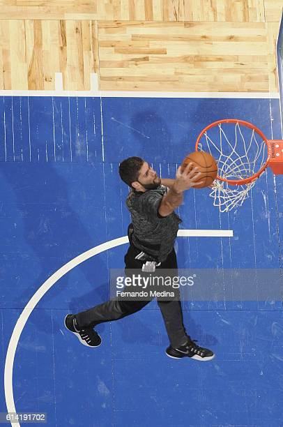 Patricio Garino of the San Antonio Spurs warms up before the game against the Orlando Magic on October 12 2016 at the Amway Center in Orlando Florida...