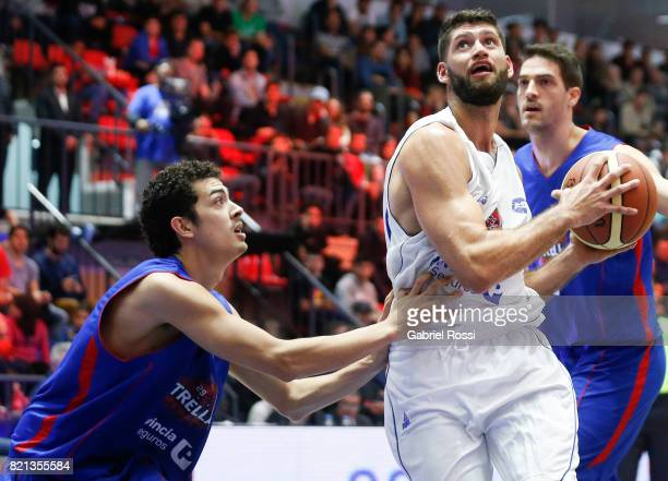 Patricio Garino of the White Team fights for the ball with Eric Flor of the Blue Team during the 29th Liga Nacional AllStar Game at Roberto Pando...