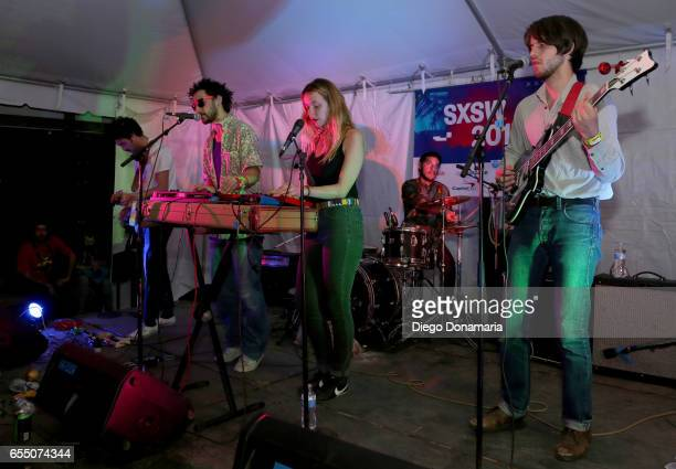 Patricio Gonzalez Marius Duflot Laure Briard Rodrigo Martinez and Victor Peynichou perform onstage at Burgermania during 2017 SXSW Conference and...