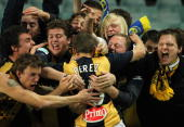 Patricio Perez of the Mariners celebrates with fans after kicking a penalty goal during the round four ALeague match between Sydney FC and the...