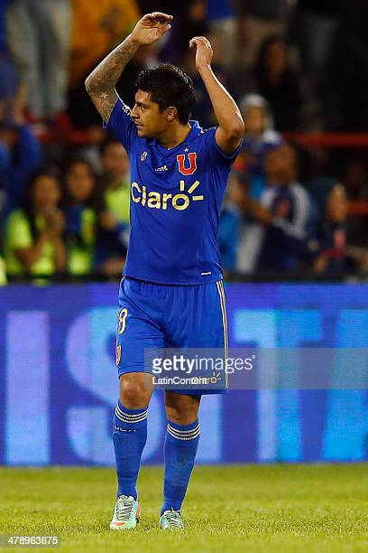 Patricio Rubio of U de Chile celebrates after scoring a goal during a match between U de Chile and Deportes Iquique as part of round 11 of Torneo...