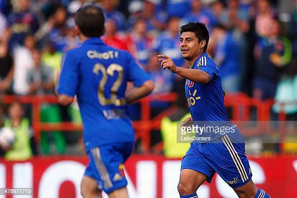 Patricio Rubio of U de Chile celebrates after scoring the first goal of his team during a match between U de Chile and Deportes Iquique as part of...