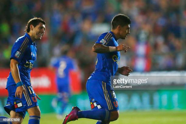 Patricio Rubio of Universidad de Chile celebrates after scoring his team's second goal aginst Everton during a match between Universidad de Chile and...