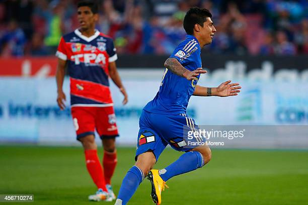 Patricio Rubio of Universidad de Chile celebrates after scoring the first goal of his team during a match between U de Chile and San Marcos de Arica...