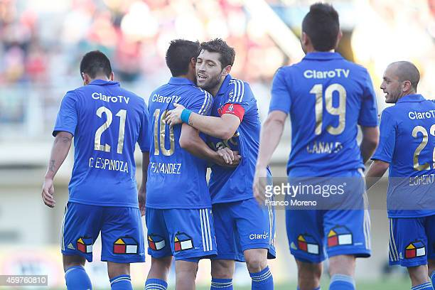 Patricio Rubio of Universidad de Chile celebrates the second goal against Ñublense during a match between Nublense and Universidad de Chile as a part...