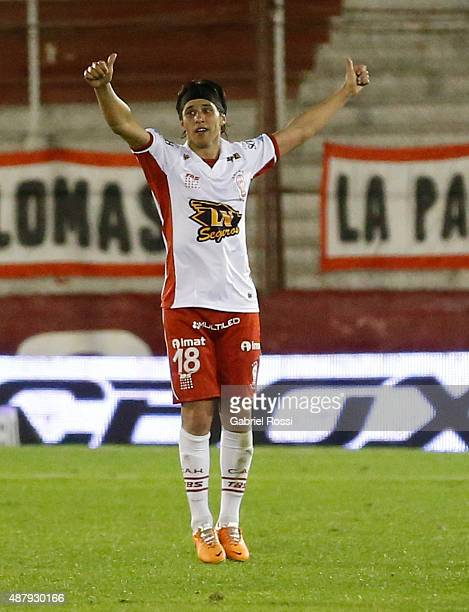 Patricio Toranzo of Huracan celebrates after scoring the first and winning goal of his team during a match between Huracan and San Lorenzo as part of...