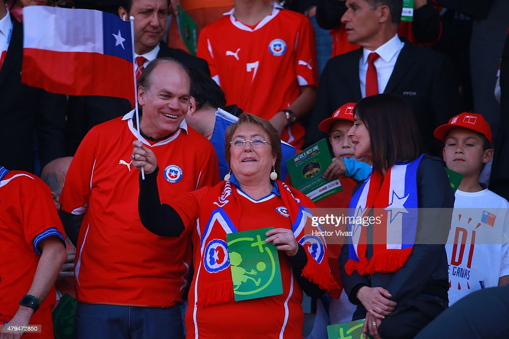 Patricio Walker Prieto, Chilean senator, <a gi-track='captionPersonalityLinkClicked' href=/galleries/search?phrase=Michelle+Bachelet&family=editorial&specificpeople=547978 ng-click='$event.stopPropagation()'>Michelle Bachelet</a>, President of Chile and Natalia Riffo, Chilean Minister of Sport are seen in the tribuen during the 2015 Copa America Chile Final match between Chile and Argentina at Nacional Stadium on July 04, 2015 in Santiago, Chile.