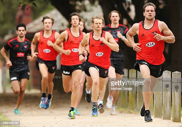 Patrick Ambrose of the Bombers leads from start to finish during an Essendon Bombers AFL preseason training session at Princes Park on November 10...
