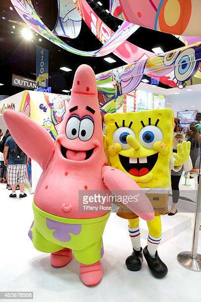 Patrick and SpongeBob pose at the Nickelodeon booth during the 2014 San Diego ComicCon International Day 3 on July 25 2014 in San Diego California