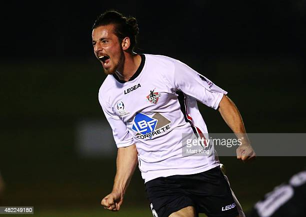 Patrick Antelmi of Blacktown City celebrates scoring the first goal during the FFA Cup match between Blacktown City FC and MetroStars FC at Lily's...