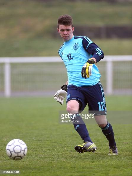 Patrick Bader goalkeeper of Germany in action during the Tournament of Montaigu qualifier match between U16 Germany and U16 England at the Stade...