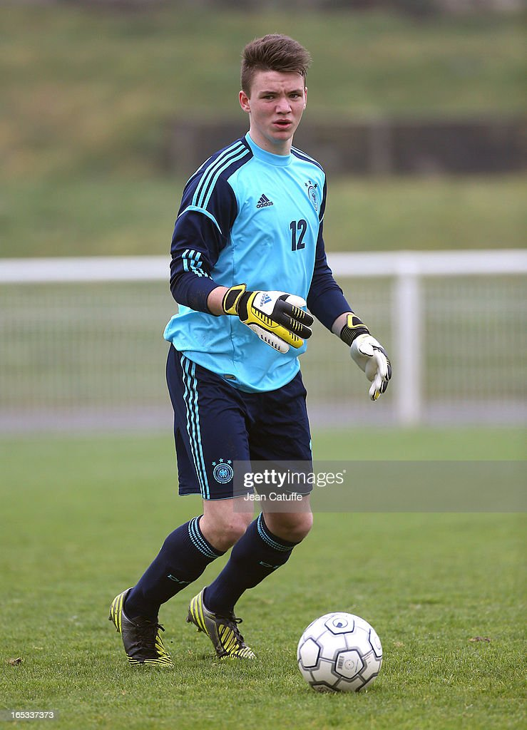 Patrick Bader, goalkeeper of Germany in action during the Tournament of Montaigu qualifier match between U16 Germany and U16 England at the Stade Saint Andre D'Ornay on March 30, 2013 in La Roche-sur-Yon, France.