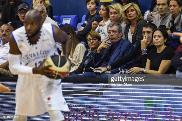 Patrick Balkany mayor of Levallois during the Pro A match between Levallois Metropolitans and Boulazac at Salle Marcel Cerdan on October 21 2017 in...