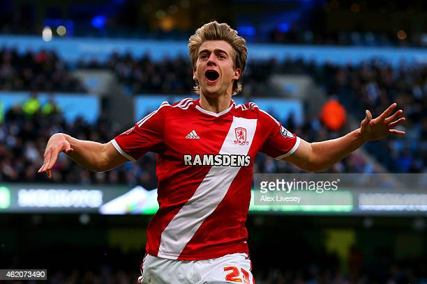 Patrick Bamford of Middlesbrough celebrates after scoring the opening goal during the FA Cup Fourth Round match between Manchester City and...