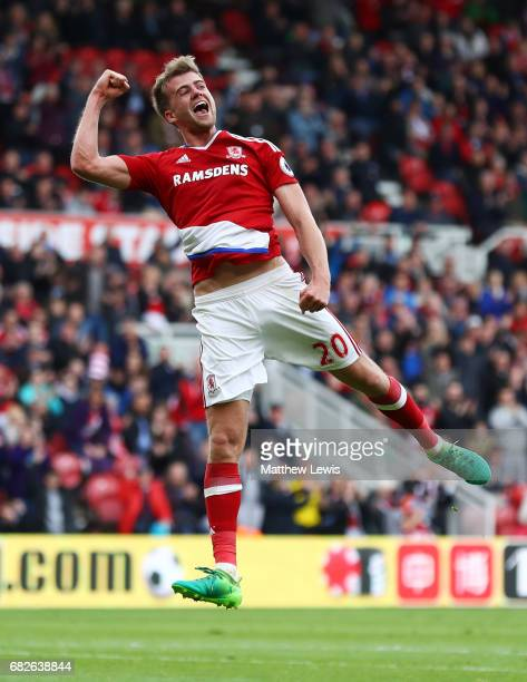 Patrick Bamford of Middlesbrough celebrates scoring his sides first goal during the Premier League match between Middlesbrough and Southampton at...