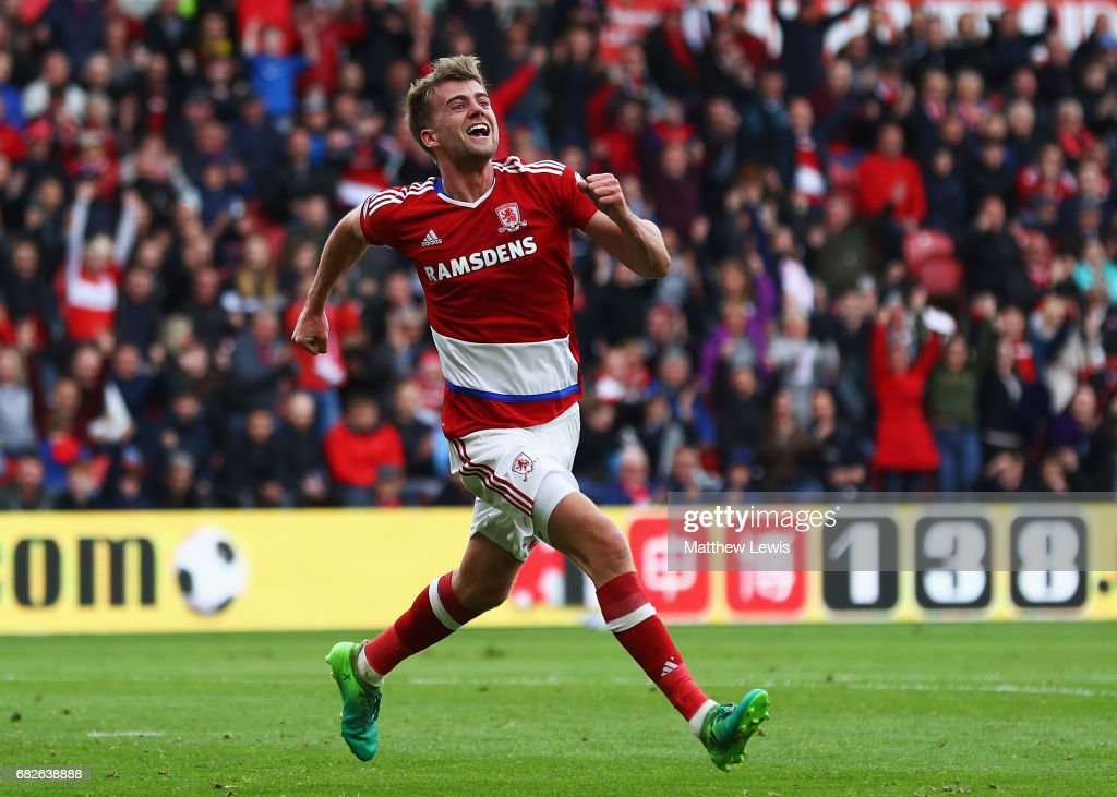 Patrick Bamford of Middlesbrough celebrates scoring his sides first goal during the Premier League match between Middlesbrough and Southampton at Riverside Stadium on May 13, 2017 in Middlesbrough, England.